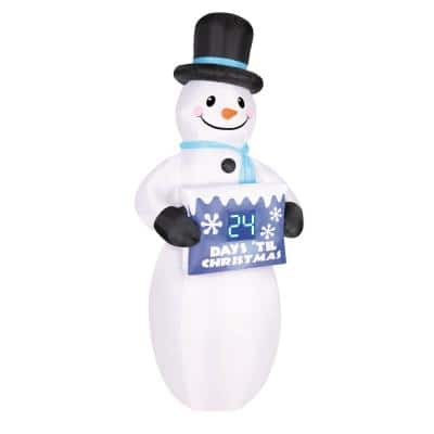 7 ft. Inflatable Electronic Countdown Sign with Snowman