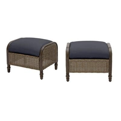 Windsor Brown Wicker Outdoor Patio Ottoman with CushionGuard Midnight Navy Blue Cushions (2-Pack)
