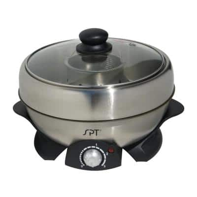 Shabu Shabu 3 Qt. Stainless Steel Electric Multi Cooker with-Glass Lid