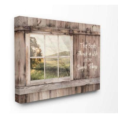 """30 in. x 40 in. """"Simple Things Rustic Barn Window Distressed Photograph Canvas Wall Art"""" by Lori Deiter"""