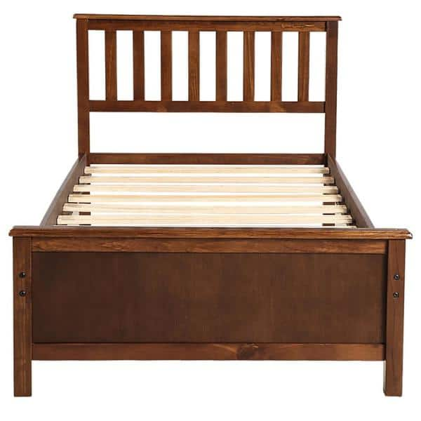 Boyel Living Walnut Wood Single, Queen Bed Frame With Headboard And Footboard Wood
