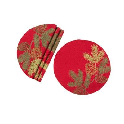 0.1 in. H x 16 in. W Round Christmas Pine Tree Branches Embroidered Double Layer Placemat (Set of 4)