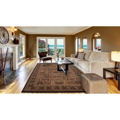 Persian Classic Panel Black Rectangle Indoor 9 ft. 3 in. x 12 ft. 10 in. Area Rug