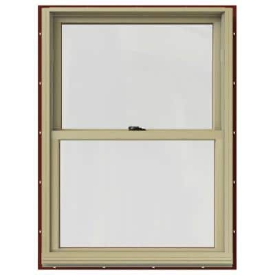 29.375 in. x 40 in. W-2500 Series Red Painted Clad Wood Double Hung Window w/ Natural Interior and Screen