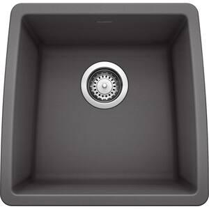 PERFORMA SILGRANIT Granite Composite 18 in. Undermount Bar Sink in Cinder