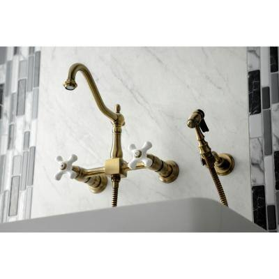 Heritage 2-Handle Wall-Mount Kitchen Faucet with Side Sprayer in Antique Brass