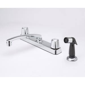 Two Handle Standard Kitchen Faucet with Sprayer in Chrome
