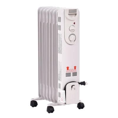 1500-Watt Electric Oil-Filled Radiator Space Heater 5-Fin Thermostat Room Radiant