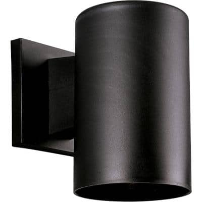 """Cylinder Collection 5"""" Black  Polymeric Modern Outdoor Wall Lantern Light"""