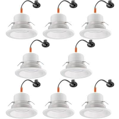 4 in. 30-in-1 Configurations Selectable CCT Integrated LED Recessed Light Trim Downlight Wet Rated (8-Pack)