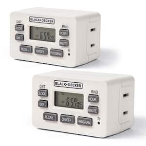 Indoor Light Programmable Polarized Outlet Timers Digital Timer Outlet (2-Pack)