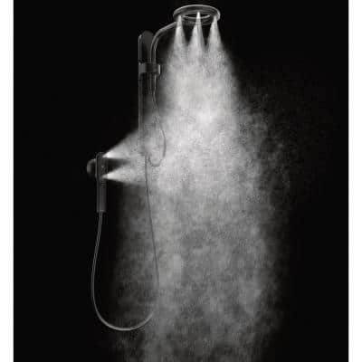 Nebia by Moen 1-Spray 8 in. Dual Shower Head and Handheld Shower Head with Magnetic Remote Dock in Matte Black