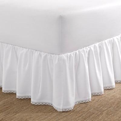 Crochet Ruffle White Cotton King 15 in. Drop Bedskirt