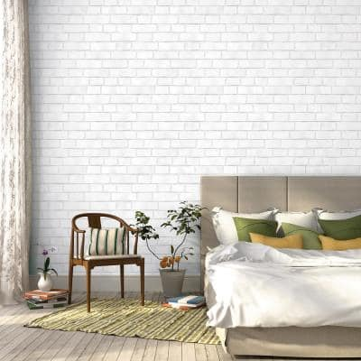 Brick White Peel and Stick Wallpaper (Covers 28 sq. ft.)