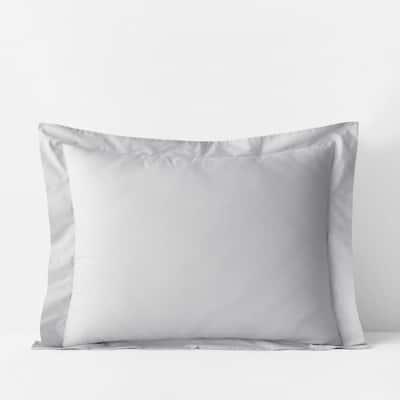 Pearl Gray Solid 400-Thread Count Supima Cotton Percale Standard Sham