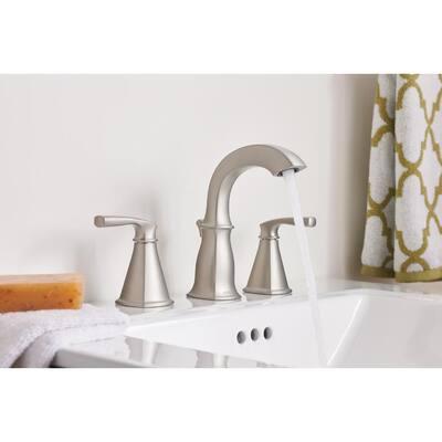 Hensley 8 in. Widespread 2-Handle High-Arc Bathroom Faucet in Spot Resist Brushed Nickel (2-Pack)