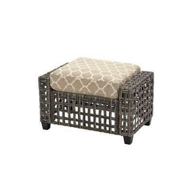 Briar Ridge Brown Wicker Outdoor Patio Ottoman with CushionGuard Toffee Trellis Tan Cushions