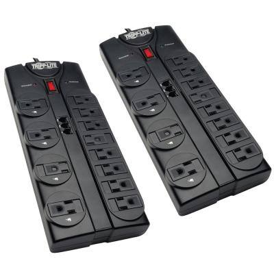 Protect It 8 ft. 12-Outlet Power Strip Surge Protector Cord 2-Pack