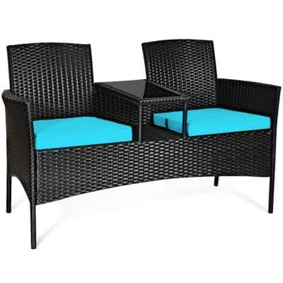 Black 1-Piece Wicker Outdoor Loveseat with Turquoise Cushions and Built-In Table