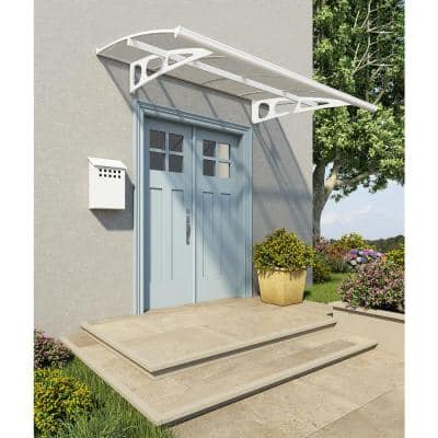 Bordeaux 5 ft. x 7 ft. White/Clear Door and Window Awning