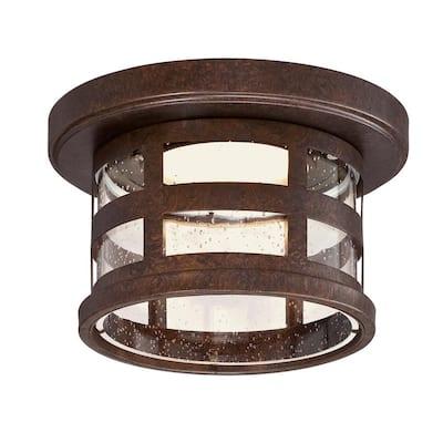 Washburn 1-Light Rustic Bronze Integrated LED Indoor/Outdoor Flush Mount Ceiling Light