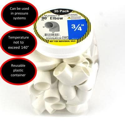 3/4 in. PVC 90-Degree Elbow Socket x Socket Pro Pack (35-Pack)