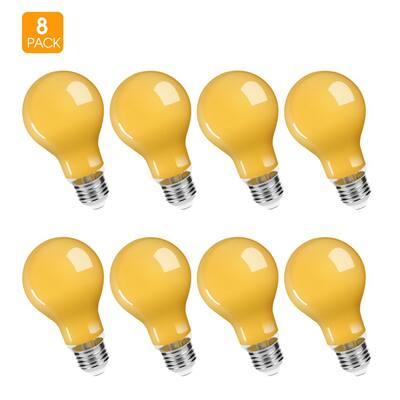 UL Listed 6-Watt, 50-Watt Equivalent A19 LED Bug Light Bulb E26 Base in Yellow-Colored 2200K (8-Pack)