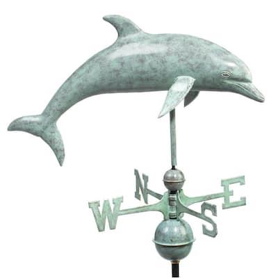 Dolphin Weathervane - Blue Verde Copper