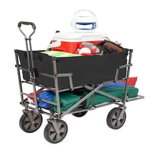 Heavy-Duty Steel Double Decker Collapsible Yard Cart Wagon, Black