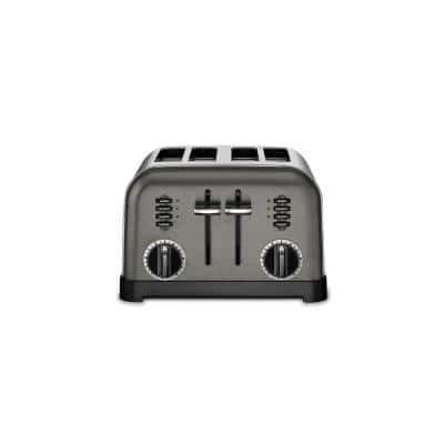 Classic Series 4-Slice Black Stainless Steel Wide Slot Toaster with Crumb Tray