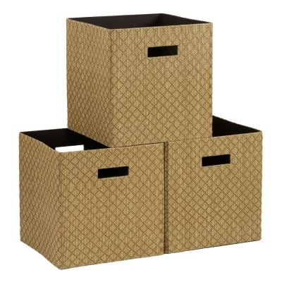 Premium Deco Fabric Storage Cubes in Gold (3-Pack)