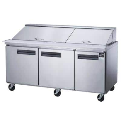 72.25 in. W 17.58 cu. ft. 3-Door Commercial Food Prep Table Refrigerator with Mega Top in Stainless Steel