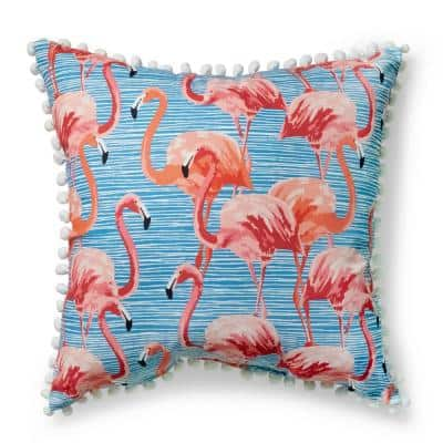 20 in. Inagua Beach Square Outdoor Throw Pillow with Pom Poms