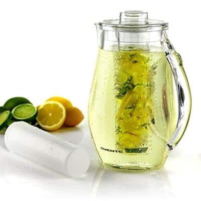 84 fl. oz. Clear Pitcher with Removable Fruit Infuser Rod and Ice Rod, Non-Slip Handle, Drip-Free Spout