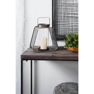 Rounded Triangle Black Metal Lantern Candle Holder with Handle and Gold Trim