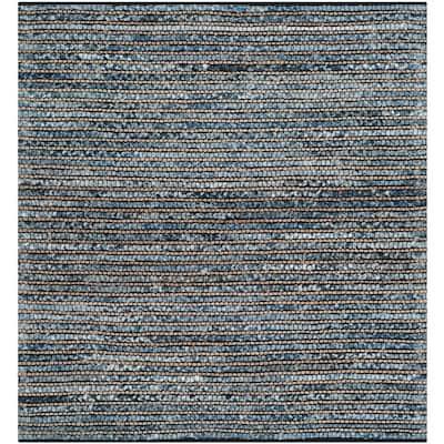 Cape Cod Blue 6 ft. x 6 ft. Square Striped Area Rug
