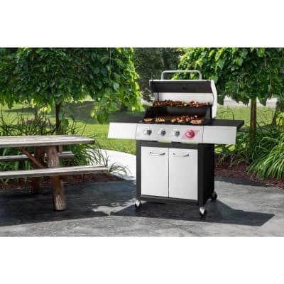 4-Burner Propane Gas Grill in Stainless Steel with TriVantage Multifunctional Cooking System