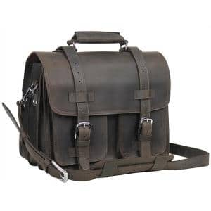 16 in. C.E.O. Classic Full Grain Leather Briefcase Backpack Multiple Purpose 9 lbs. Weight