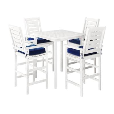 Miramar White 5-Piece Wood Bar Height Outdoor Bistro Set with Navy Blue Cushions