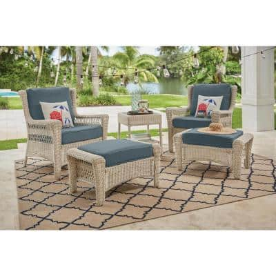 Park Meadows Off-White Wicker Outdoor Patio Lounge Chair with Sunbrella Denim Blue Cushions