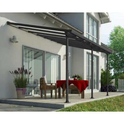 Feria 10 ft. x 14 ft. Grey Patio Cover Awning