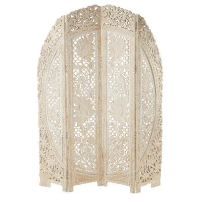 72 in. White Mango Wood Eclectic Room Divider Screen