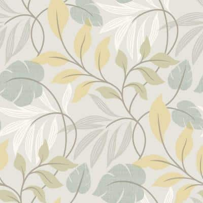 Eden Blue Modern Leaf Trail Strippable Roll Wallpaper (Covers 56 sq. ft.)