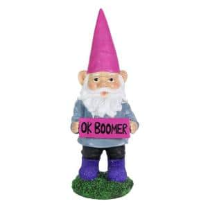 13 in. Ok Boomer Sign Gnome Garden Statue