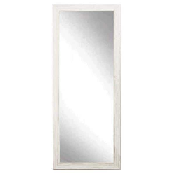 Brandtworks Medium Distressed White Composite Hooks Farmhouse Rustic Mirror 32 In H X 65 In W Av18tall The Home Depot