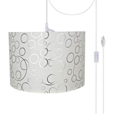 2-Light White Plug-in Swag Pendant with White Hardback Drum Fabric Shade