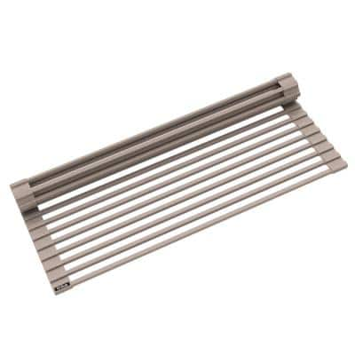 Multipurpose Brown Over-Sink Roll-Up Dish Drying Rack