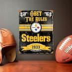 14.5 in. H x 11.5 in. D Heavy Duty Steel Pittsburgh Steelers Embossed Metal Sign Wall Art