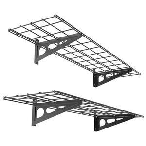 12 in. x 48 in. Steel Garage Wall Shelving in Black (2-Pack)