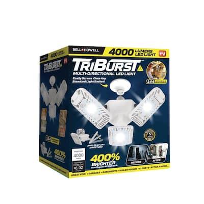 TriBurst 10.5 in. 144 High Intensity LED 4000 Lumens White Flush Mount Ceiling Light with 3 Adjustable Heads